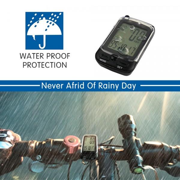 SOON GO Bike Computer Wireless Waterproof KM Cycle Speedometer Multifunctional Bicycle Accessories Large LCD Display Backlight