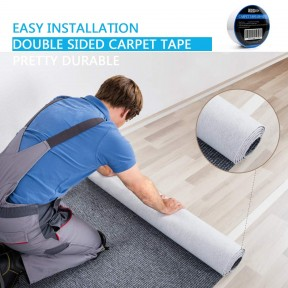 SOON GO Double Sided Carpet Tape 2 Inch x 10 Yards Rug Gripper Heavy Duty Adhesive Anti Slip for Area Rugs Mats Pads Runners Indoor Outdoor Work On Hardwood Floor Tile Stairs No Residue